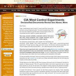 Mind Control Experiments, CIA, Sex Abuse