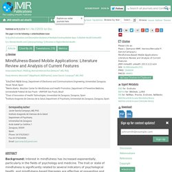 JMU-Mindfulness-Based Mobile Applications: Literature Review and Analysis of Current Features