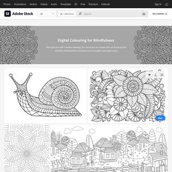 Digital Colouring for Mindfulness inspirational stock assets