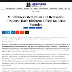 Mindfulness Meditation and Relaxation Response Have Different Effects on Brain Function