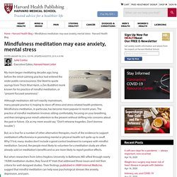 Mindfulness meditation may ease anxiety, mental stress