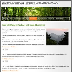 Free Guided Mindfulness Meditations and Exercises by Boulder Counselor, David Robbins, MA, LPC