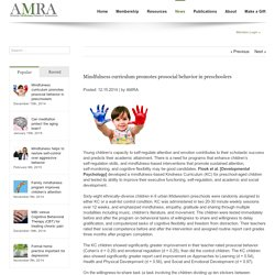 American Mindfulness Research Association Mindfulness curriculum promotes prosocial behavior in preschoolers - American Mindfulness Research Association