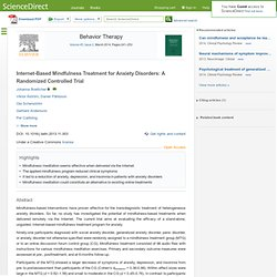 Internet-Based Mindfulness Treatment for Anxiety Disorders: A Randomized Cont...