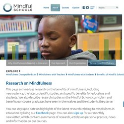 Mindfulness research from studies, educators, schools, surveys