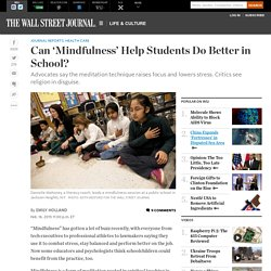 Can 'Mindfulness' Help Students Do Better in School?