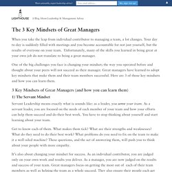 The 3 Key Mindsets of Great Managers by @Get_Lighthouse