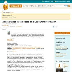 Microsoft Robotics Studio and Lego Mindstorms NXT | Coding4Fun Articles