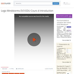 Lego Mindstorms EV3 EDU Cours d introduction