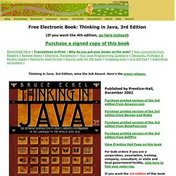 Bruce Eckel's MindView, Inc: Free Electronic Book: Thinking in Java, 3rd Edition