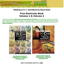 Bruce Eckel's MindView, Inc: Thinking in C++ 2nd Edition by Bruce Eckel
