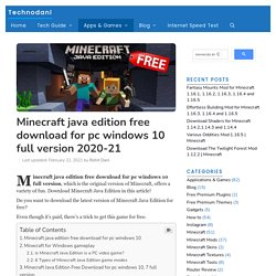 Minecraft Java Edition Free Download For Pc Windows 10 Full Version 2020-21 - Technodani