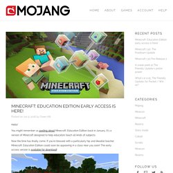 Minecraft: Education Edition early access is here!