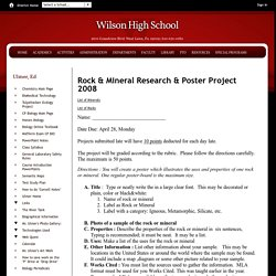 Ulmer, Ed / Rock & Mineral Research & Poster Project