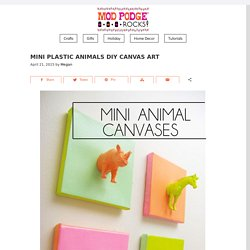 Mini plastic animals DIY canvas art