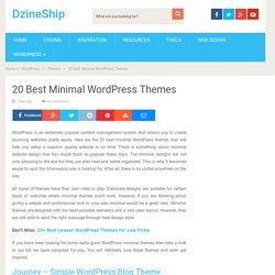 20 Best Minimal WordPress Themes – DzineShip