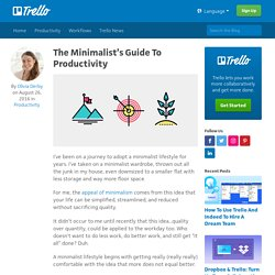 The Minimalist's Guide To Productivity