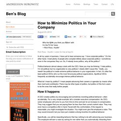 How to Minimize Politics in Your Company
