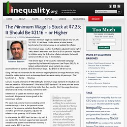 The Minimum Wage Is Stuck at $7.25; It Should Be $21.16