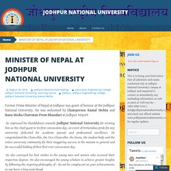 MINISTER OF NEPAL AT JODHPUR NATIONAL UNIVERSITY