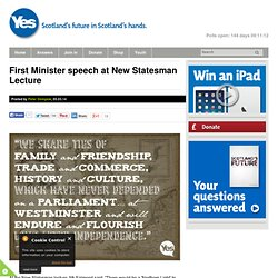 First Minister speech at New Statesman Lecture