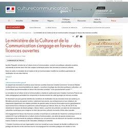 Le ministère de la Culture et de la Communication s'engage en faveur des licences ouvertes