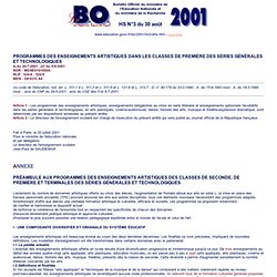 Ministère de l'Education : Bulletin Officiel de l'Education National BO Hors-série N°3 du 30 août 2001 - arts