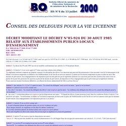 Ministère de l'Education : Bulletin Officiel de l'Education Nationale BO Hors-série N°4 du 13 juillet 2000 - Conseil des délégués pour la vie lycéenne