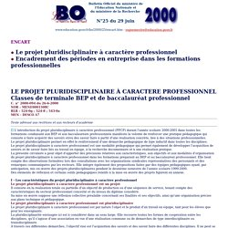 PPCP - MEN - Projet pluridisciplinaire à caractère professionnel