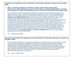Accord-cadre ministère de l'Education nationale et La Poste