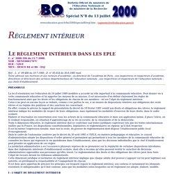 définition du réglement intérieur- BO N°8 du 13 juillet 2000