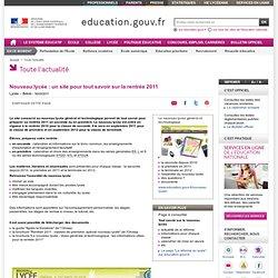 Nouveau lycée : un site pour tout savoir sur la rentrée 2011 - Ministère de l'éducation nationale