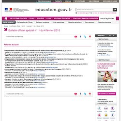Bulletin officiel sp?cial n? 1 du 4 f?vrier 2010 - Minist?re de l'?ducation nationale