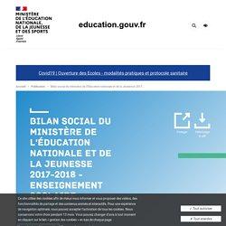 Bilan social du ministère de l'Éducation nationale et de la Jeunesse 2017-2018 - Enseignement scolaire