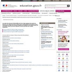 Sujets et rapports des CAPES 2012