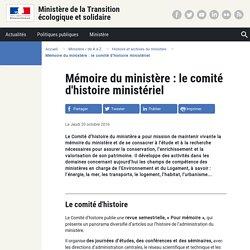 Mémoire du ministère : le comité d'histoire ministériel