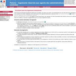 Procédure pour les logements ministériels - Palome - logements réservés aux agents des administrations centrales
