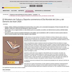 El Ministerio de Cultura y Deporte conmemora el Día Mundial del Libro y del Derecho de Autor 2020