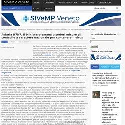 SIVEMP 04/05/16 Aviaria H7N7. Il Ministero emana ulteriori misure di controllo a carattere nazionale per contenere il virus