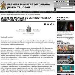 Lettre de mandat de la ministre de la Condition féminine
