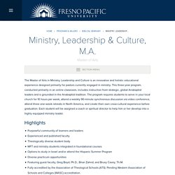 Ministry, Leadership & Culture, M.A.