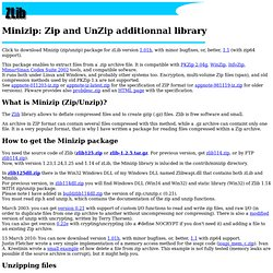 Minizip: Zip and UnZip additionnal library