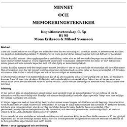 Minnet och memoreringstekniker