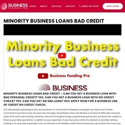 Minority Business Loans Bad Credit