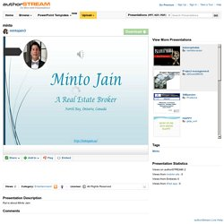 Minto Jain a Real Estate Broker at North Bay, Ontario, Canada