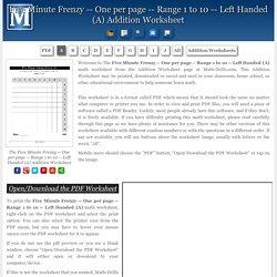 Left Handed (A) Addition Worksheet