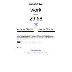 work 29 minutes left -- Magic Work Cycle -- magicworkcycle.com
