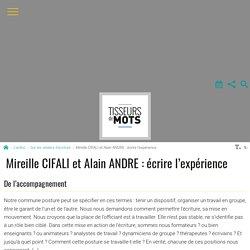 Mireille CIFALI et Alain ANDRE : écrire l'expérience - Tisseurs de mots