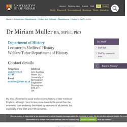 Dr Miriam Muller - Department of History