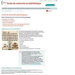 GREBIB - Annexes - Miscellanées BnF - Guide de recherches généalogiques